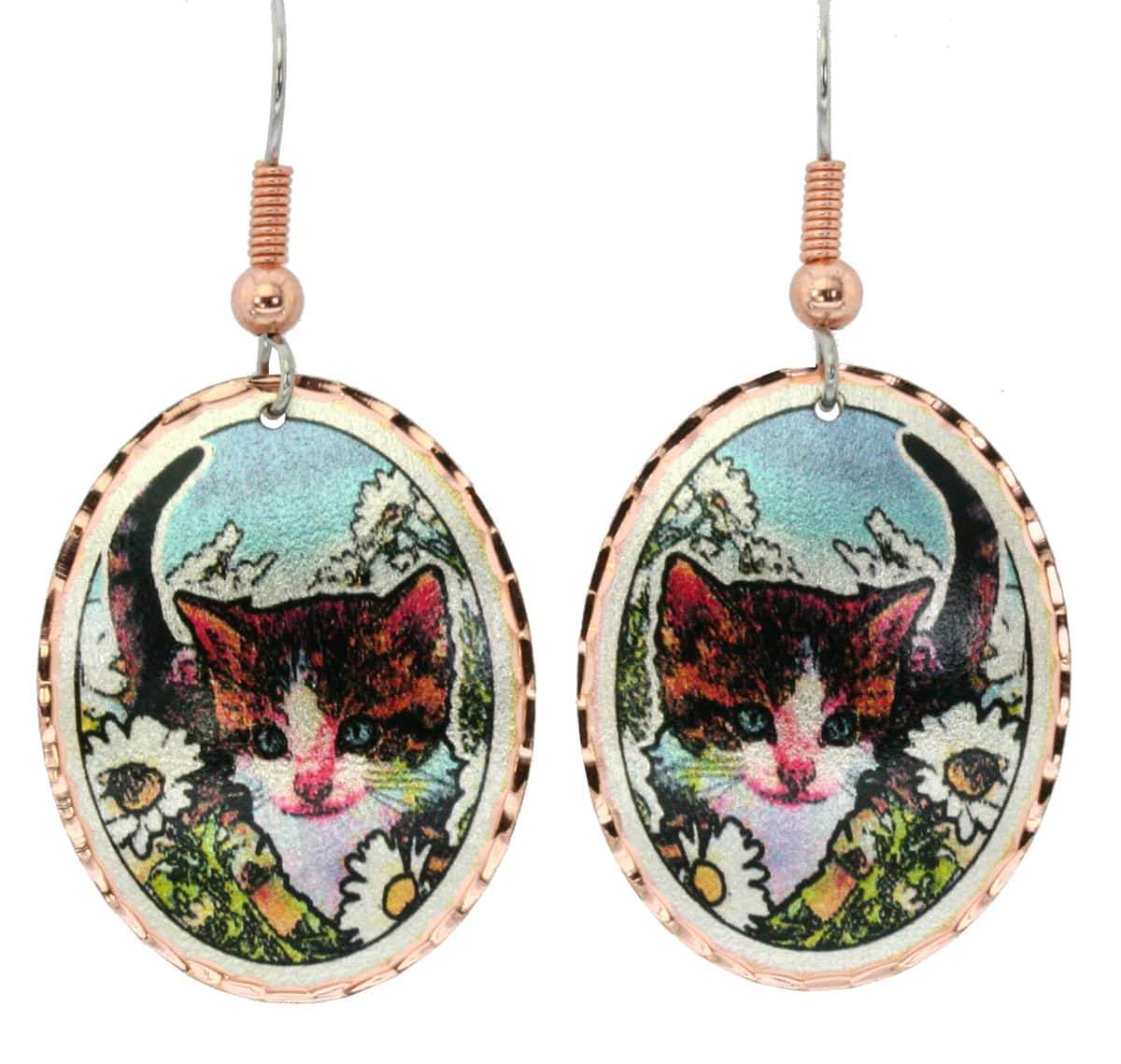 Unique Cat and Flowers Earrings