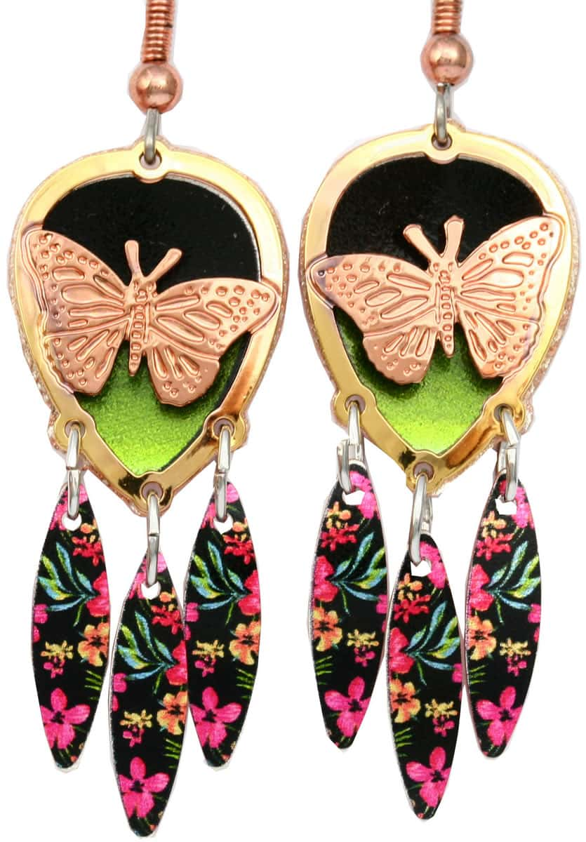 Cut out gold and copper pretty butterfly earrings with colorful dangle backdrop