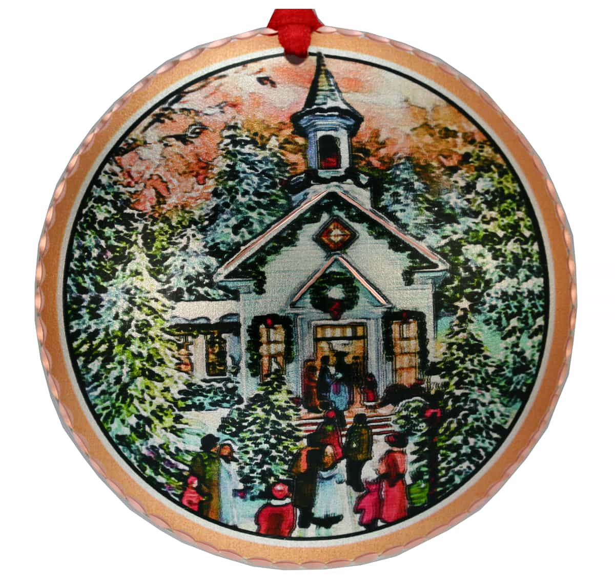 Church Scene Colorful Christmas Tree Ornament Made from Copper