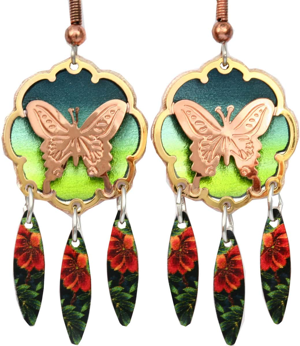 Purchase butterfly earrings cut out gold and copper earrings will be your treasure