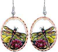 Buy cut out copper dragonfly earrings handmade in impressive design and colors