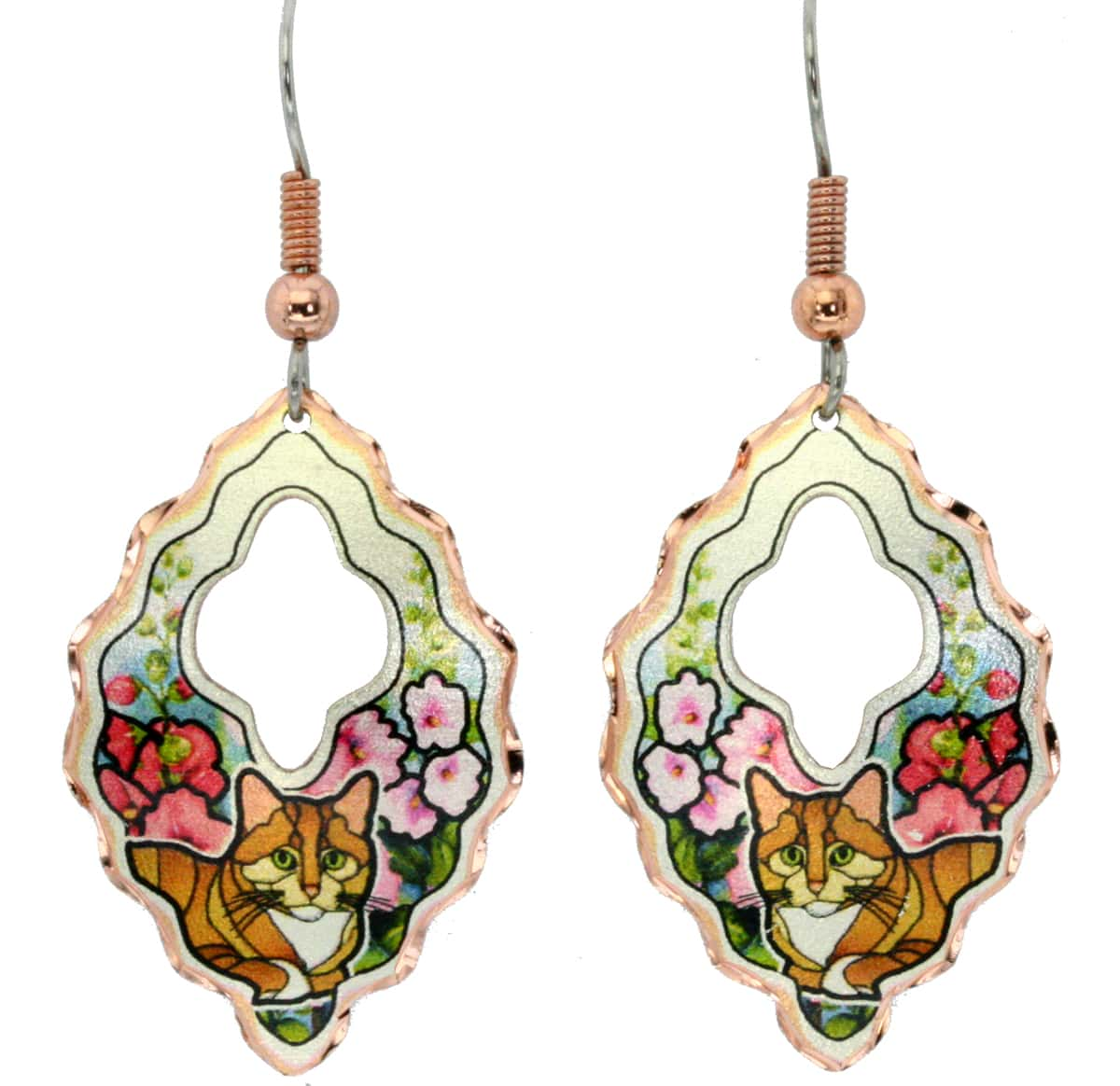 Colorful flowers and cute cat earrings for cat lovers