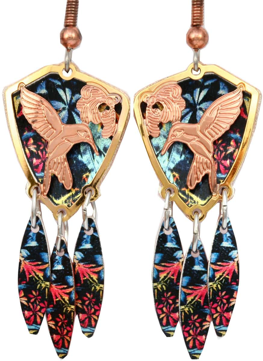 Purchase delicate hummingbird earrings cut out gold and copper with colorful dangle backdrop