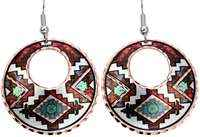 Colorful Native American Indian earrings handmade from copper in bright colors