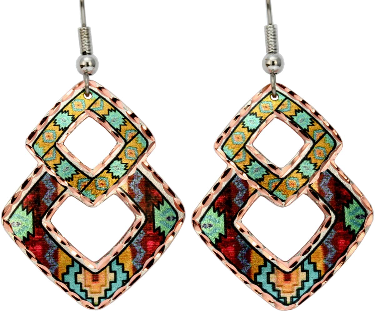 Colorful Southwest Native earrings mysteriously attractive and feminine