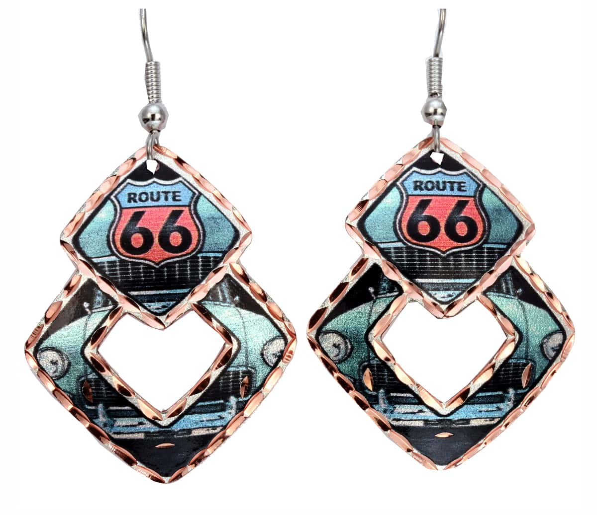 Colorful Route 66 Earrings