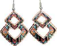 Colorful Southwest Native American earrings handmade in colorful abstract Indian artwork