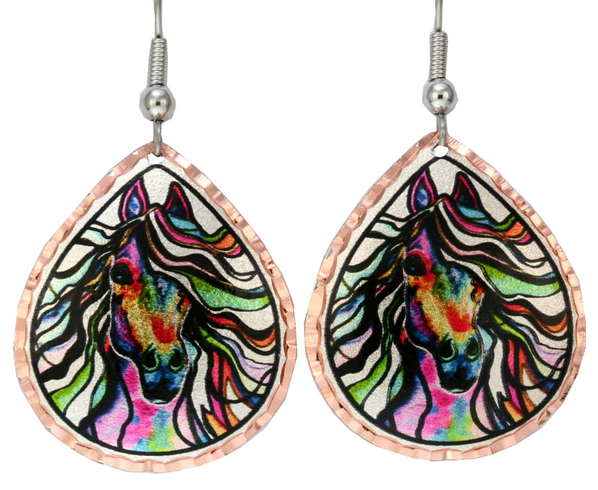 Colorful Watercolor Artwork Horse Earrings