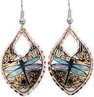 Copper dragonfly earrings highlighted with colorful accents
