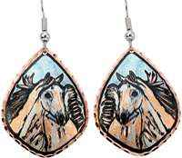 Horse earrings handmade from copper with blue background