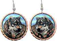 Copper wolf earrings highlighted with colorful accents