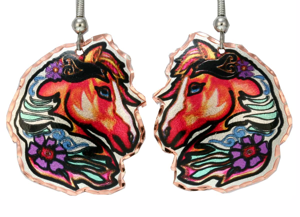 Cut Out Colorful Horse Earrings