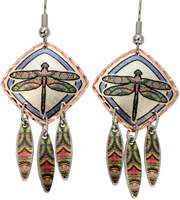 Show-off what you love most with fun to wear colorful dangle dragonfly earrings.