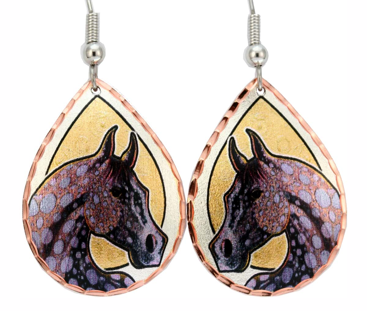 Dapple Grey Horse Earrings Bob Coonts