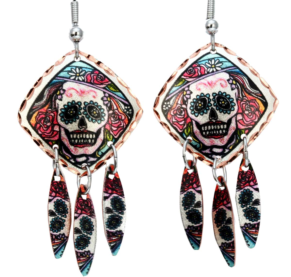 Day of the Dead Dangle Square Earrings