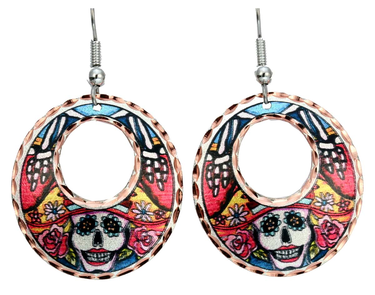 Day of the Dead Round Earrings
