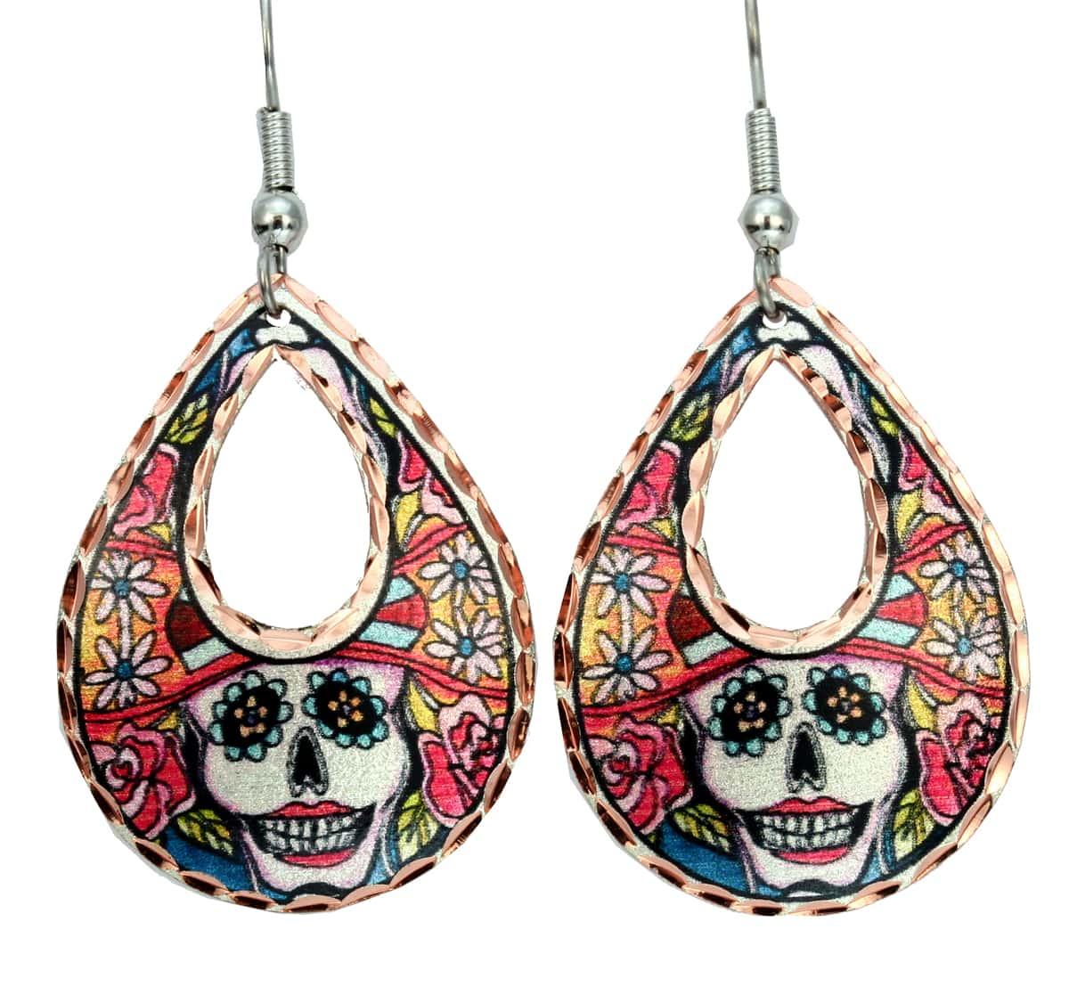 Teardrop Day of the Dead Earrings