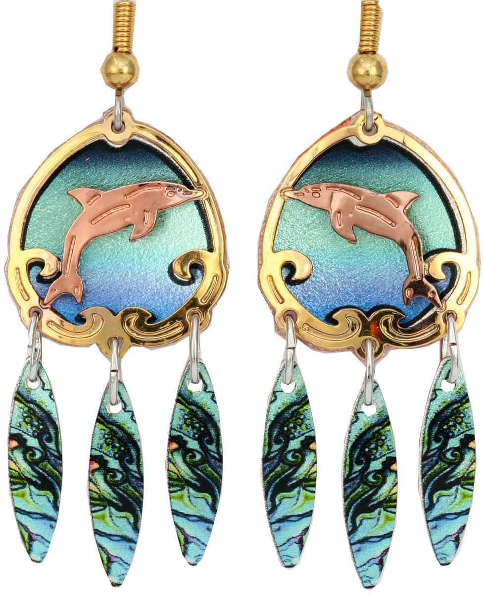 Pretty dolphin earrings cut out copper with gold highlights and colorful background