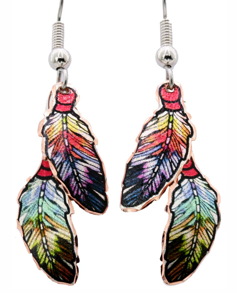 Double copper feather dangle earrings safe to wear for women with sensitive skin