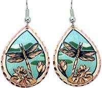 Buy water lilies and dragonfly earrings with silvery blue background