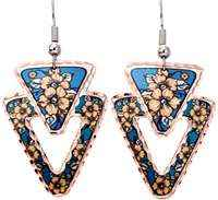 Buy flower earrings with blue color highlights