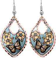 Buy flowers and butterfly earrings made from copper with silvery blue background color
