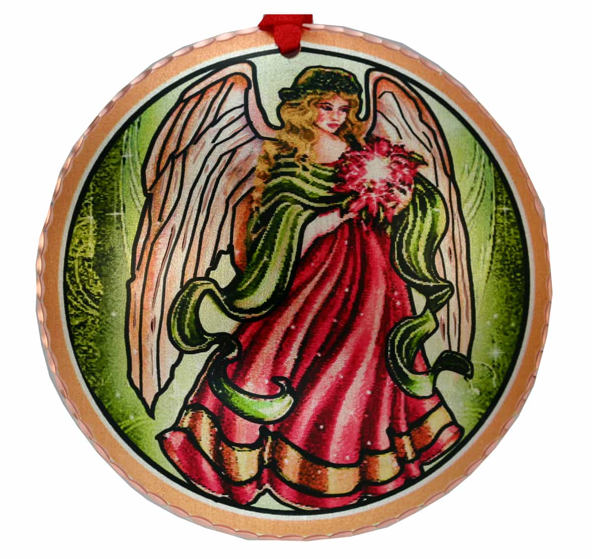 Colorful Handcrafted Copper Angel Christmas Tree Ornaments
