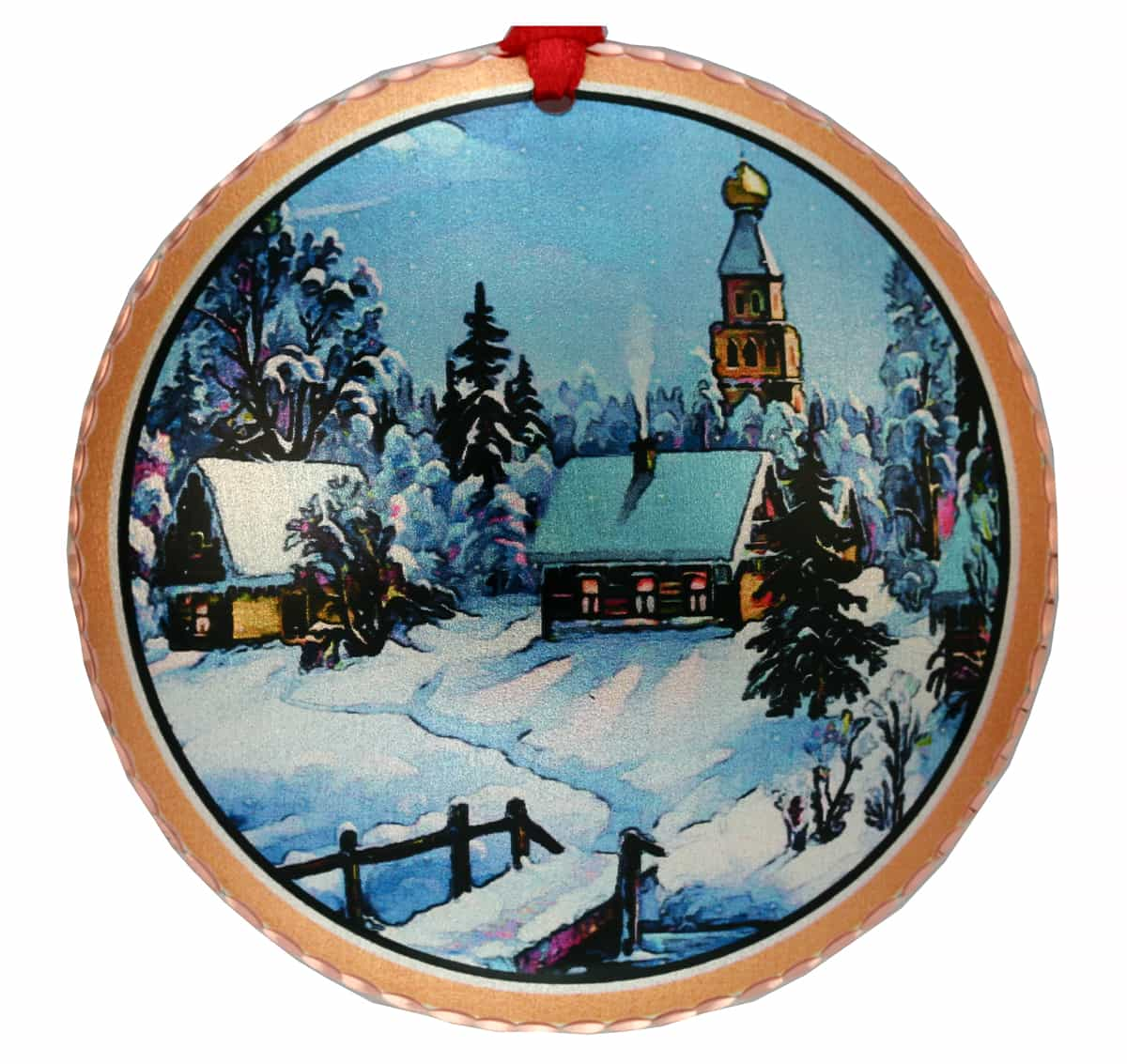 Handcrafted Christmas Tree Ornament Created in Colorful Winter Town Scene