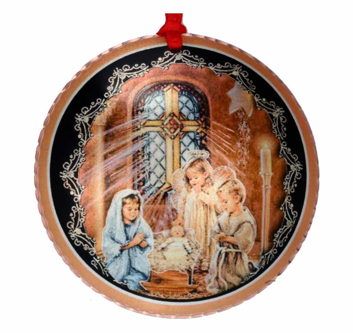 Wholesale Handmade Copper Christmas Ornament Created in Colorful church manger scene