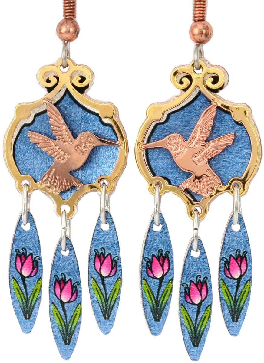 Cut out gold and copper hummingbird earrings with colorful dangle backdrop