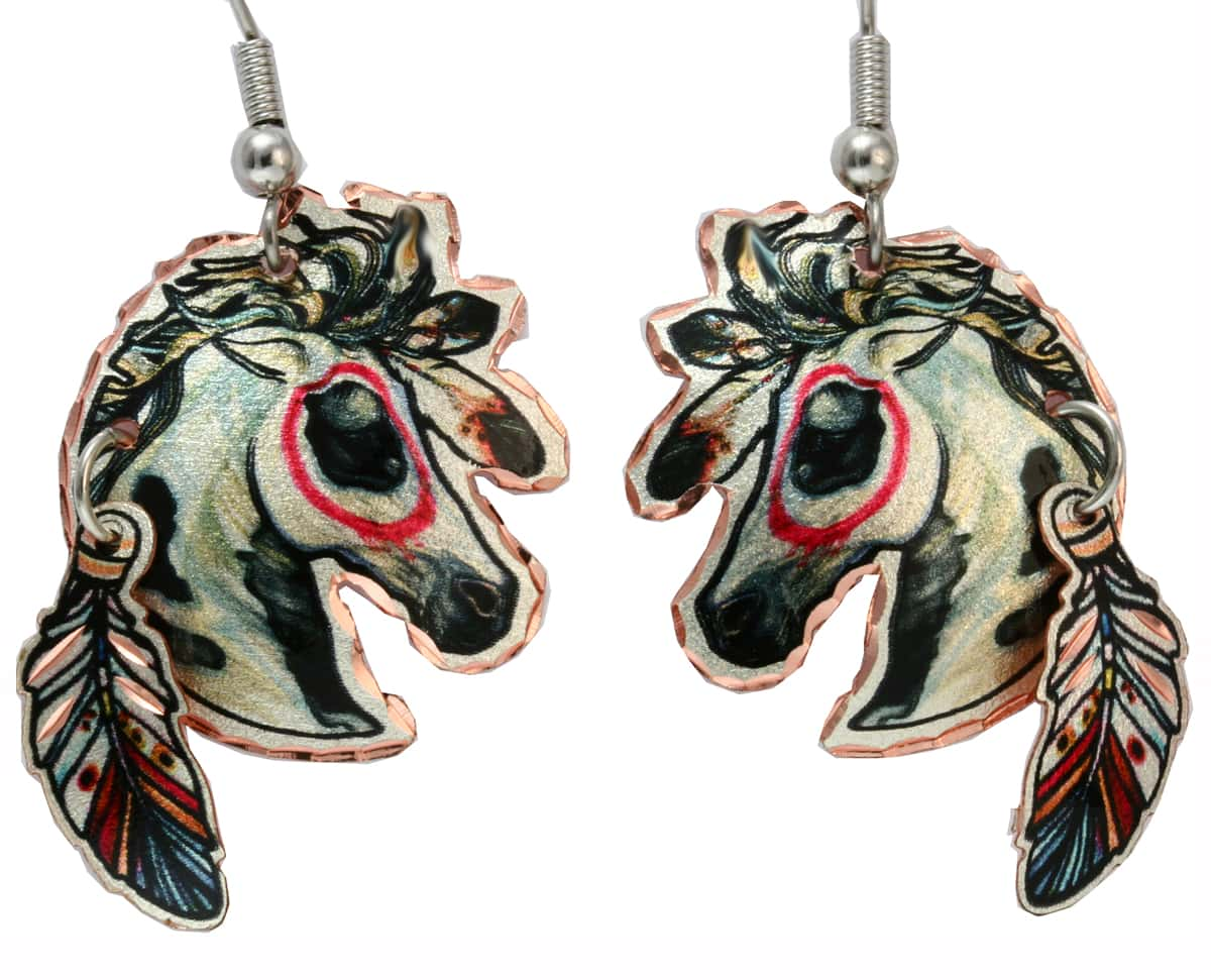 Indian Warhorse Earrings with Beautiful Copper Feather Dangles