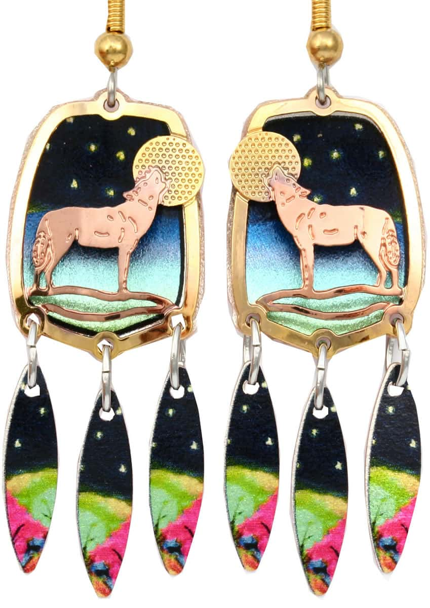 Buy howling wolf earrings cut out in gold and copper with colorful artwork dangle backdrop