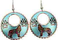 Colorful howling wolf and wolf paws earrings with silvery blue background
