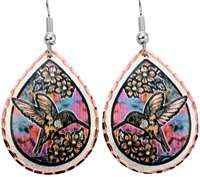 Hummingbird earrings with torch flame painting colors