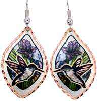 Hummingbird earrings with colorful flowers