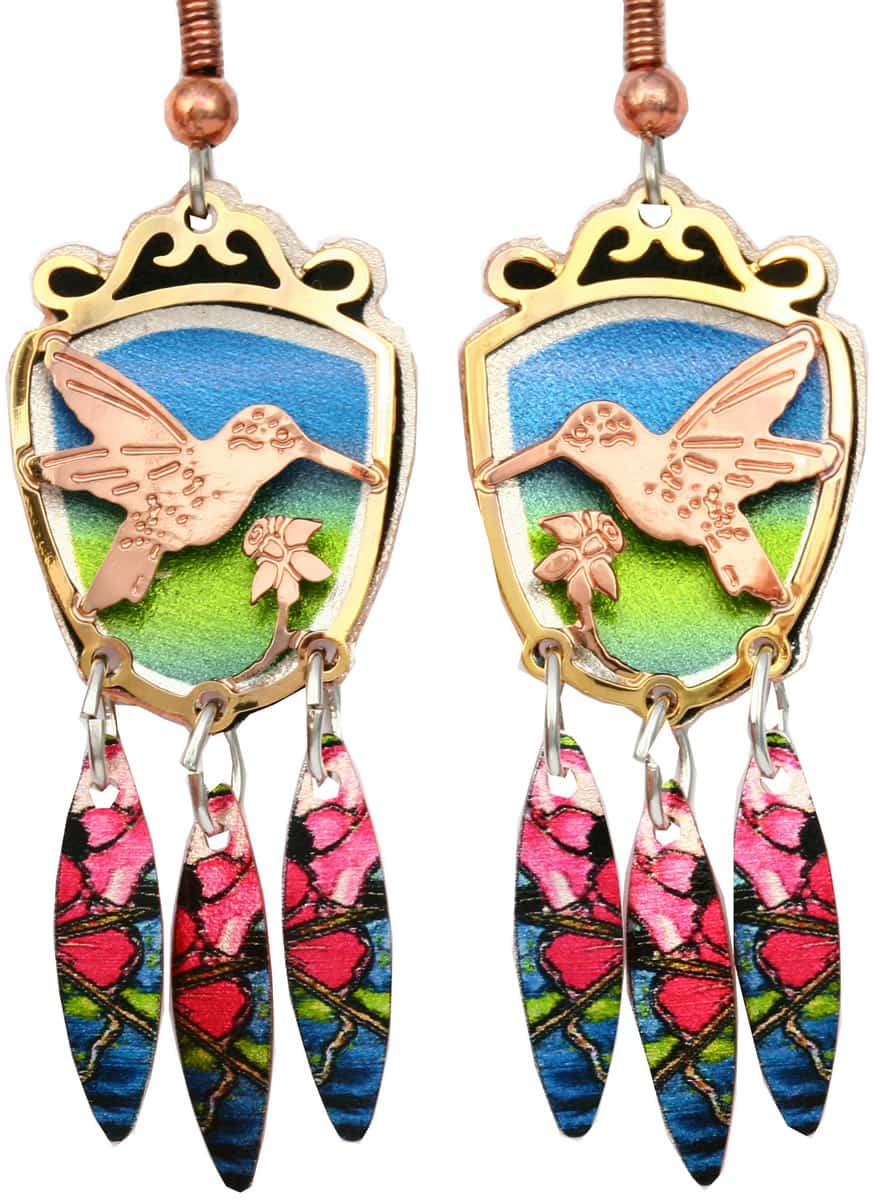 Purchase hummingbird earrings cut out gold and copper earrings will be your timeless treasure