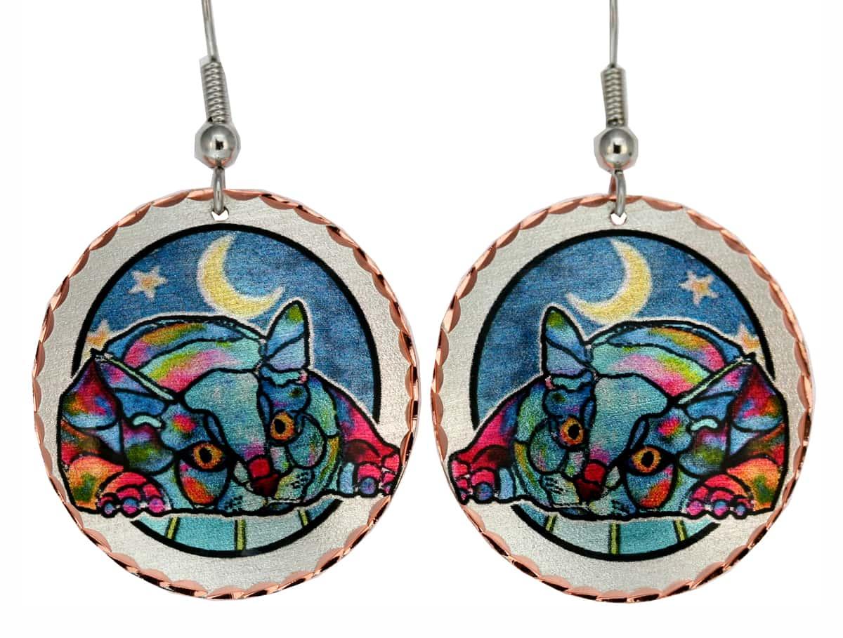 Jo Lynch Art Jewelry, Sleeping Cat Earrings