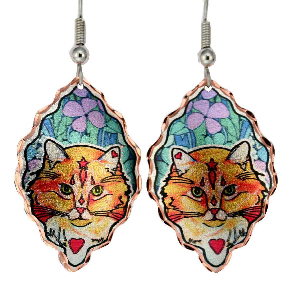 Jo Lynch's Whimsical Art Jewelry, Tabby Cat Earrings