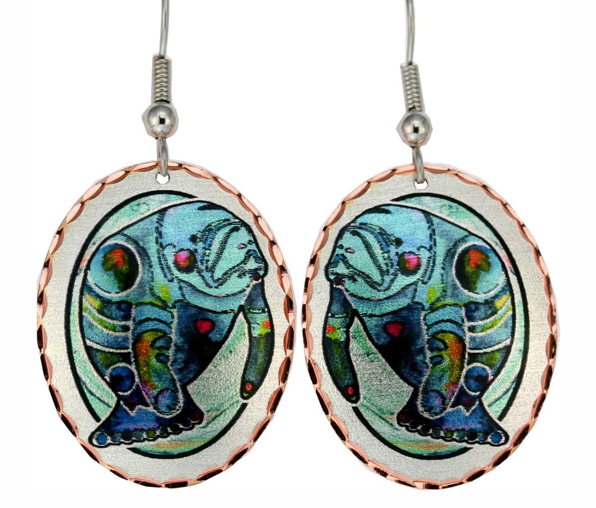 Jo Lynch Whimsical Art Jewelry, Manatee Earrings