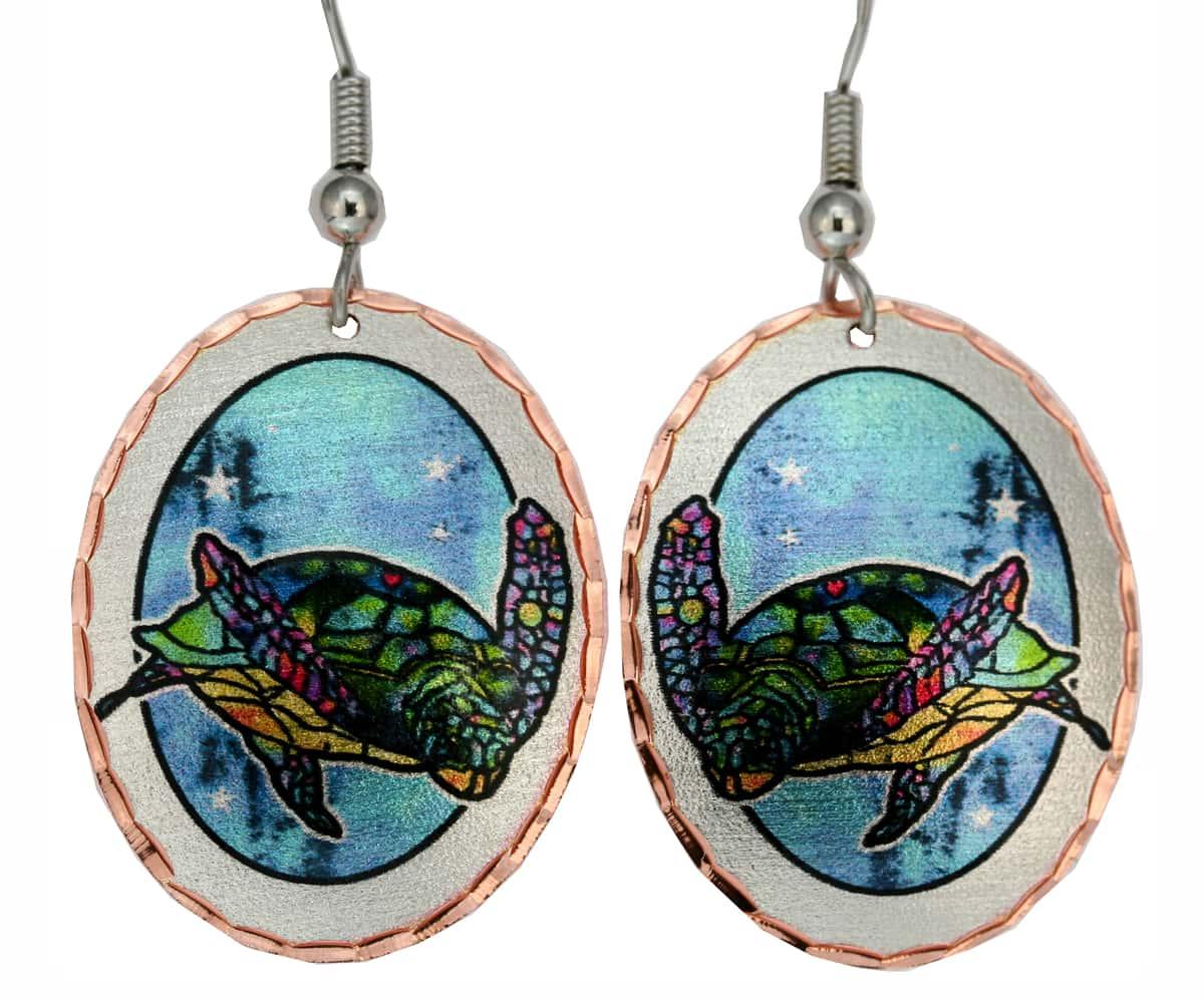 Jo Lynch Whimsical Art Jewelry, Sea Turtle Earrings