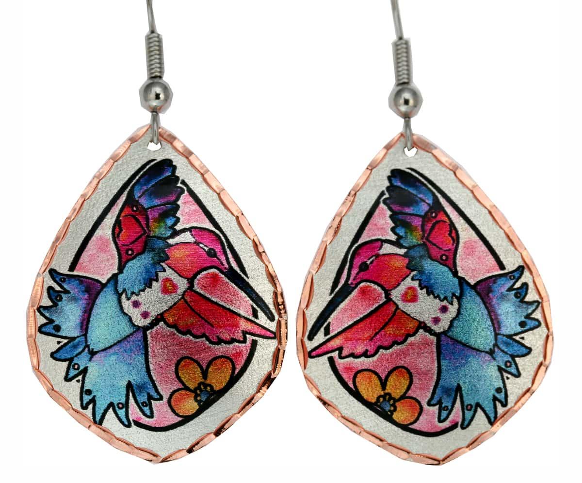 Jo Lynch's Whimzical Art Jewelry, Hummingbird Earrings