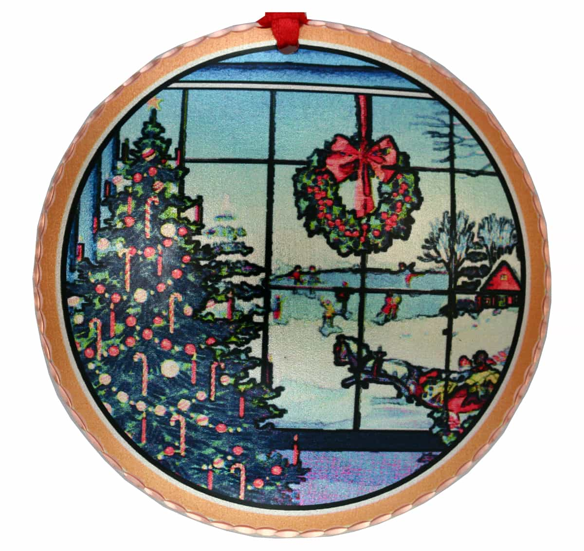 Looking out Window Scene Colorful Handcrafted Copper Christmas Tree Ornaments