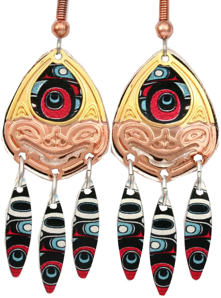 Cut out gold and copper NW Haida bear earrings with colorful dangle backdrop