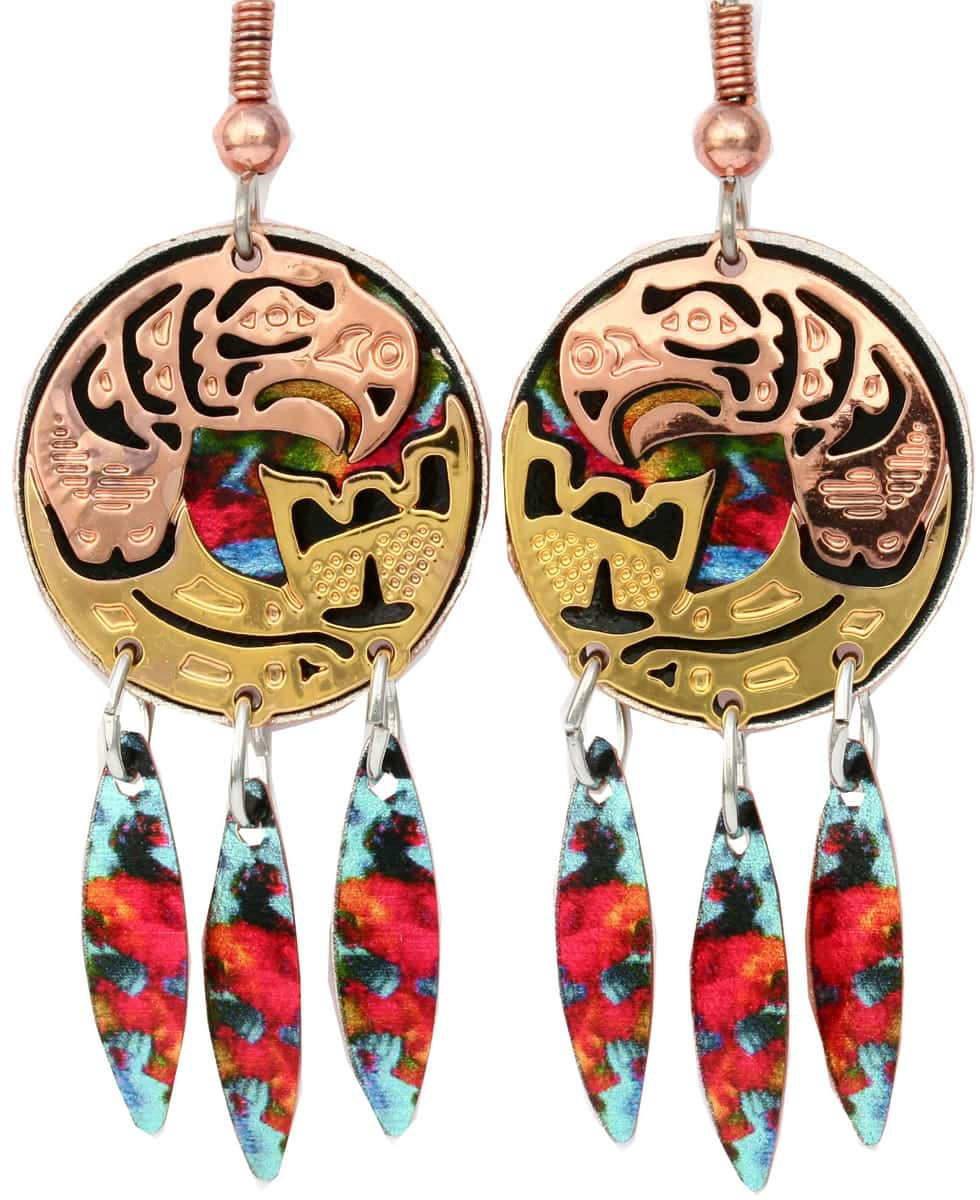 NW Native Haida salmon totem earrings are cut out in gold and copper with colorful artwork dangle backdrop