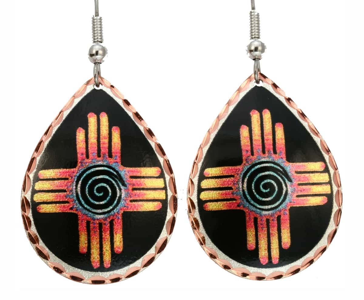 Teardrop Zia Earrings Created in Black Patina Background for a Distinguished Look