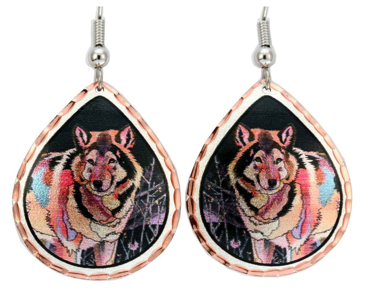 Night Wolf Art Earrings