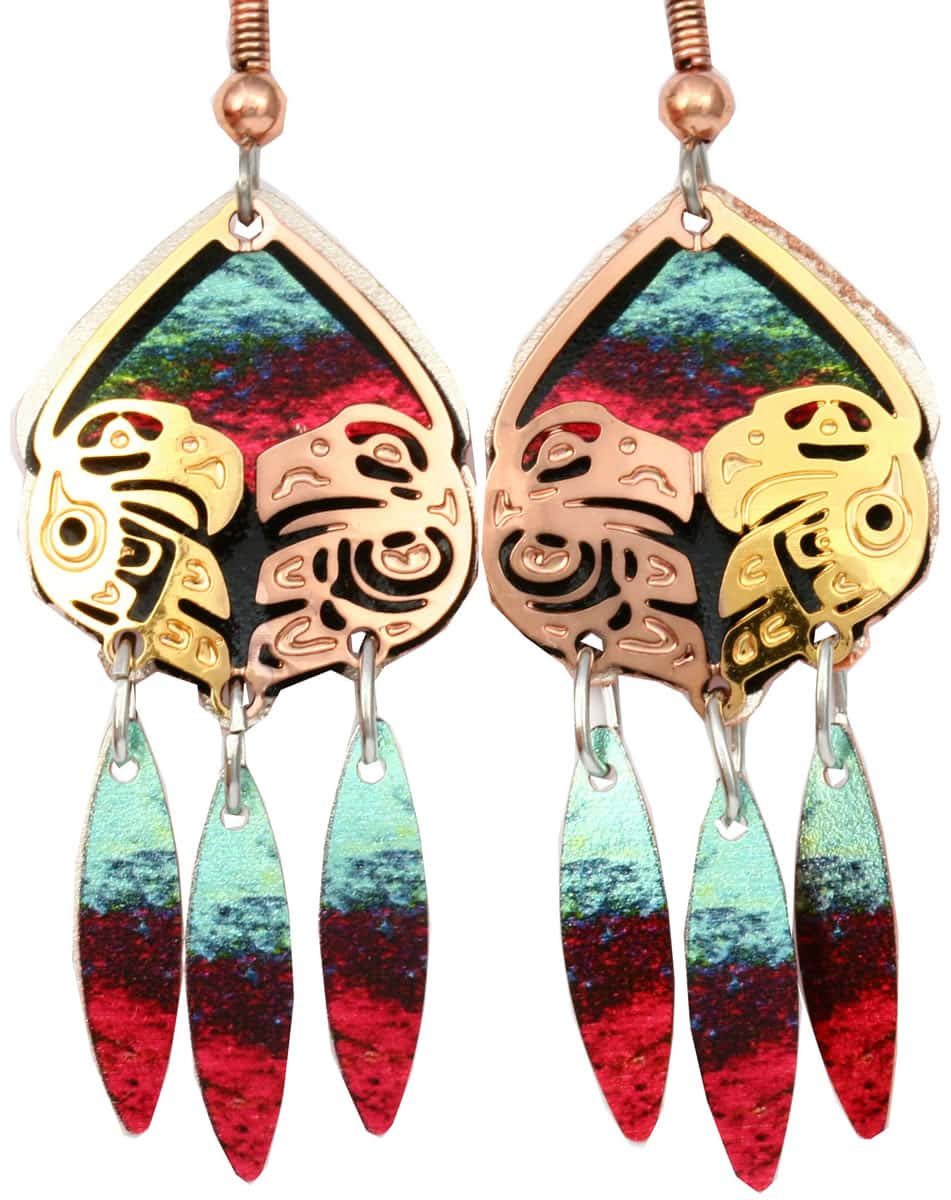 Northwest Haida eagle and raven love birds earrings made buy cut out copper with colorful background