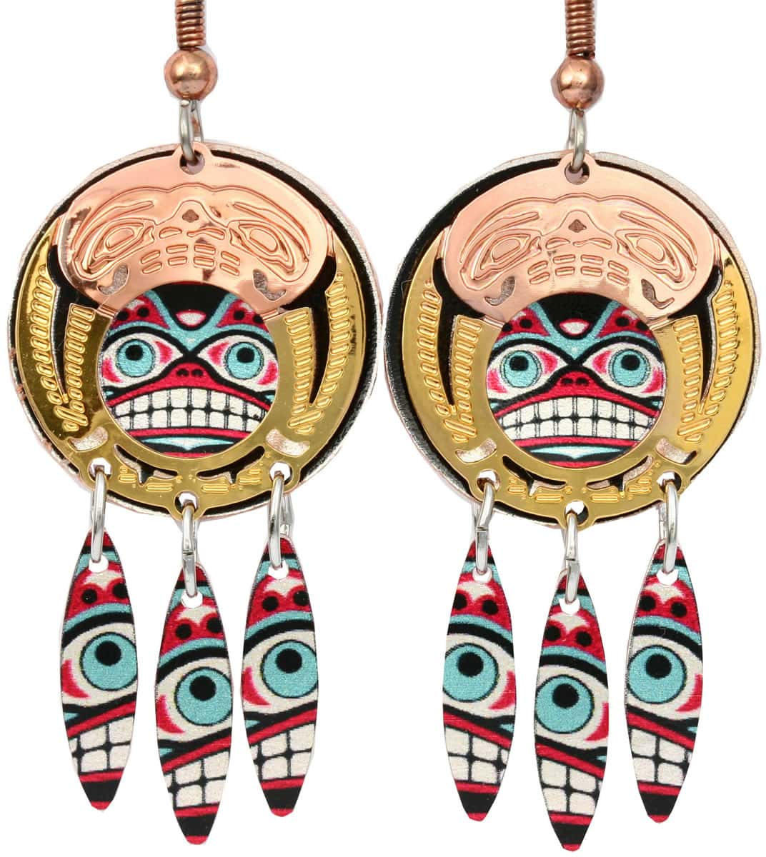 Northwest Native Haida totemic earrings with colorful background