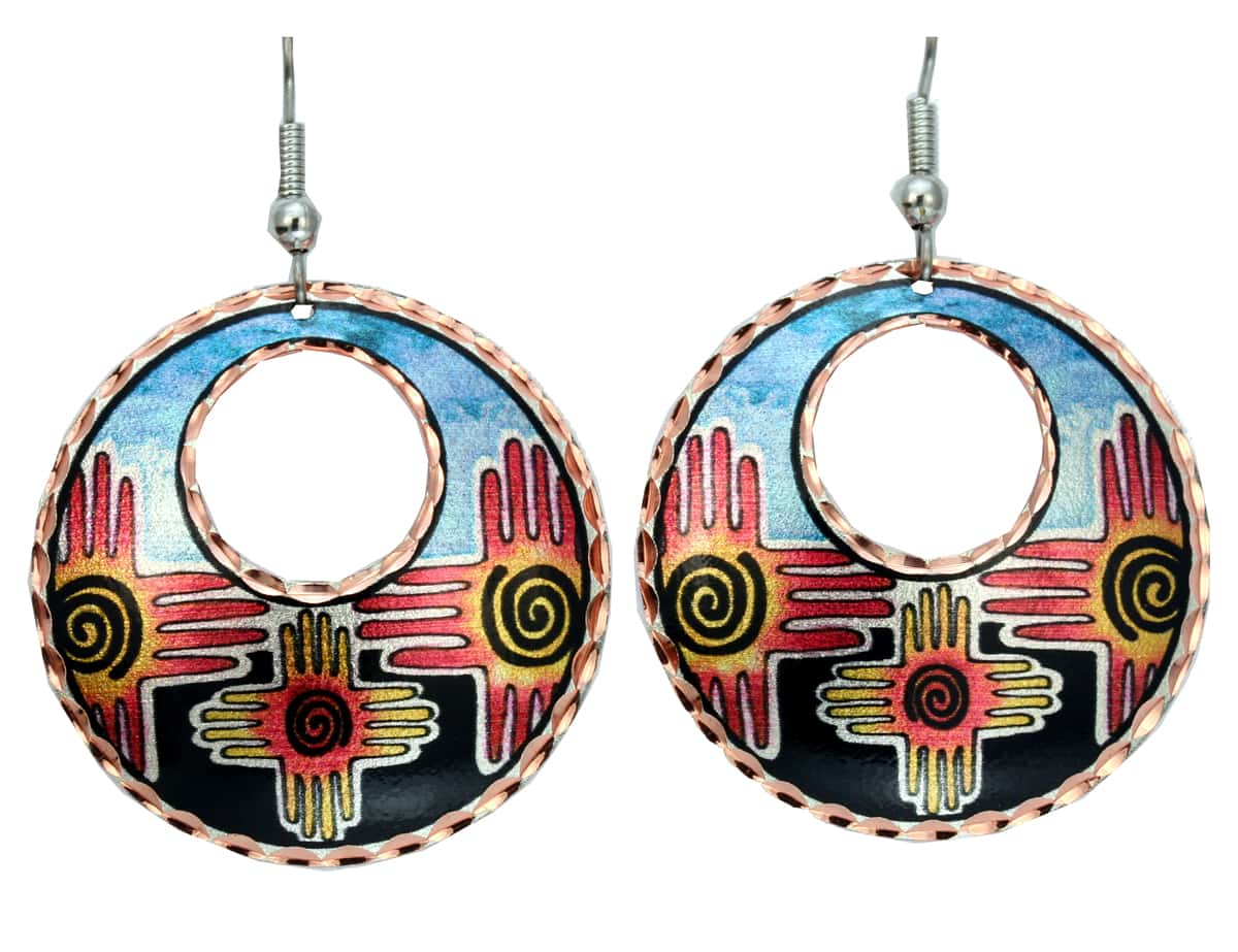 Purchase Zia Earrings symbolizes the Circle of Life: four winds, four seasons, four directions