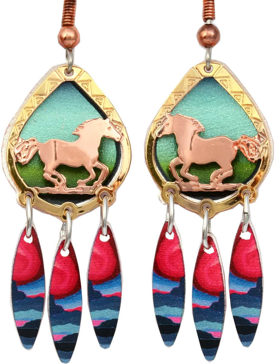 Gold and copper cut out running horse earrings with dangle colorful backdrop